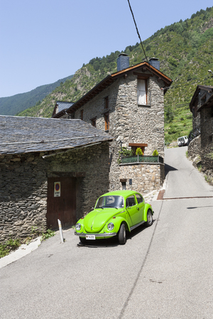 vw: Light green VW Beetle in the town of Encamp in Andorra
