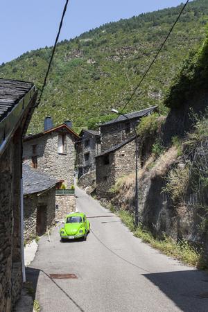 vw: Light green VW Beetle in the town of Encamp in Andorra