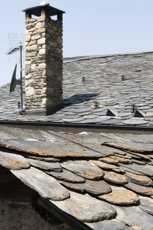 close up chimney: Stone Roof Tiles