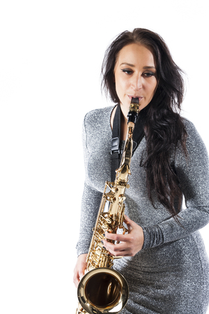 sax: Lady Playing the Sax Stock Photo