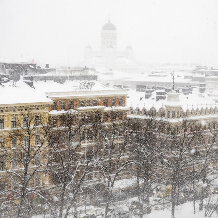 wintery snowy: Snowfall in Helsinki