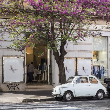 Old Fiat under a Jacaranda tree in Rome
