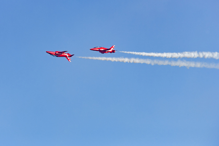 British group Red Arrows in the air show in Helsinki
