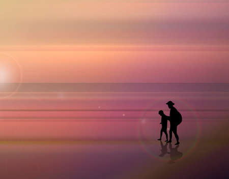 Beautiful vector illustration. A fabulous sunset on the sea. Father and son