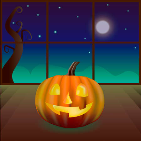 Beautiful vector illustration. A bright magic pumpkin in the night room. Halloween