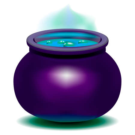 Beautiful, bright vector illustration. Magic Witch Kettle