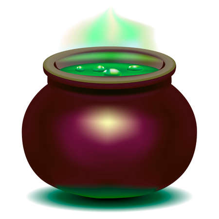 Beautiful, bright vector illustration. Magic witch boiler with green potion. Pan
