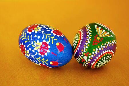 Traditionally coloured Sorebian Easter eggs