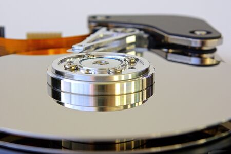 An open harddisk drive from an angular view. Stock Photo