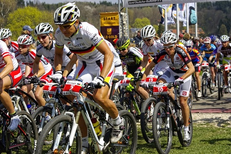 Muensingen, Germany - April 17, 2011 - start of the MTB Bundesliga racing of the Female Elite (with Olympic Champion Sabine Spitz) Editorial