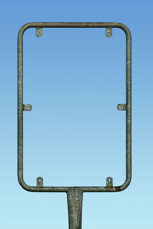 A metal-framed signpost serving as a holder of a signboard, isolated on a blue sky gradient.