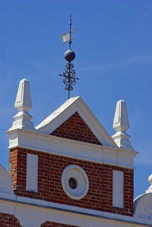 Dachgiebel eines hanseatischen Hauses, Hansestadt Stralsund, Mecklenburg-Vorpommern, Deutschland, Europa.