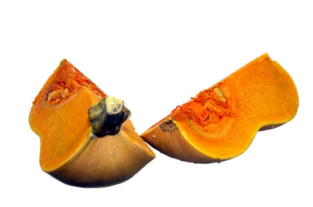 2 quarter pieces of a butternut squash isolated on white.
