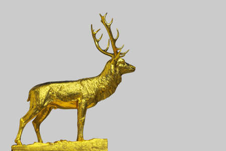 A golden statue of the male red deer, isolated on silver background  photo