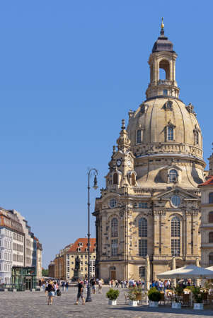 The world-famous Frauenkirche Church of Dreden, Germany, Europe, wide angle shot