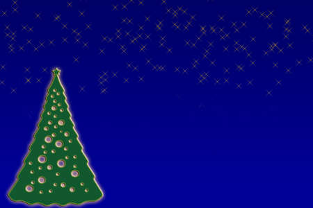 starry night: Some Christmas background of a starry night and fir tree  Stock Photo