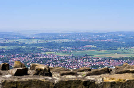 Beautiful aerial view over a city from ancient ruined walls on a mountain top, Reutlingen, Germany
