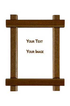 Wooden frame with empty space for text and images isolated on white