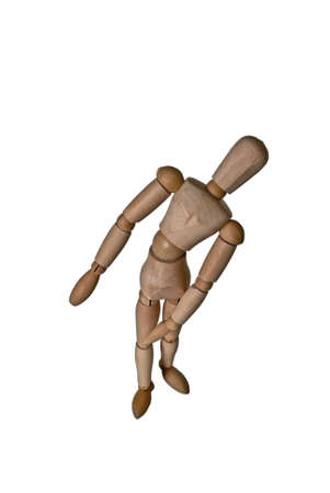 Jointed doll met met een pose alsof je beschaamd, verlegen of gevoelig, geïsoleerd op wit
