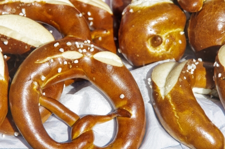 German pretzels and the like displayed in the window of a bread shop  Stock Photo - 14594192