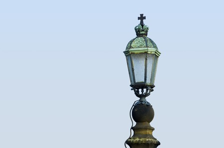 verdigris: Old historic stree light with patina.