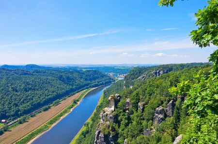 View from the Bastei Rocks to the Elbe river, Saxon Switzerland near Dresden, Germany.