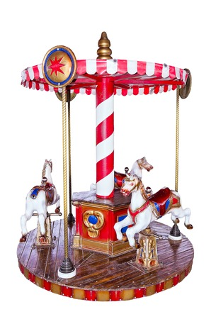 Childrens carousel with three horses.  Stock Photo
