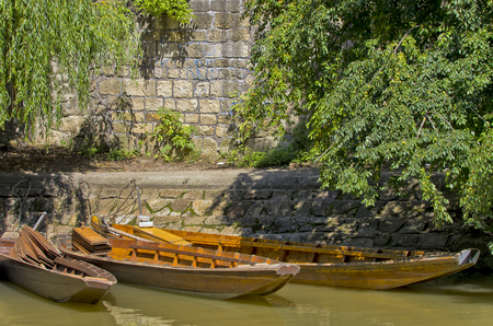 Punting boats, so called punt boats, Tubingen, Germany. Stock Photo