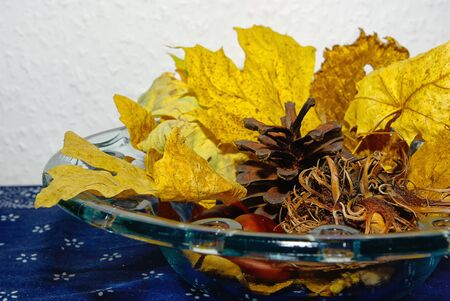 Decorative arrangement of autumn leaves, chestnuts, hazel nuts and cones in a glass bowl. Stock Photo
