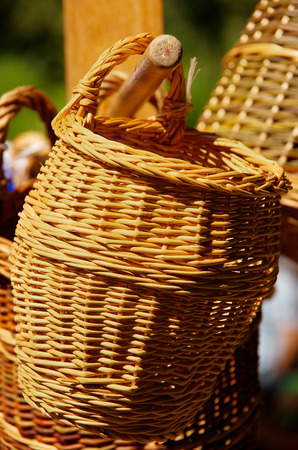 Basketwork on display on the market.
