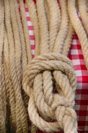 Knot in a rope on display.