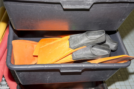 Diving fins in a box Stock Photo