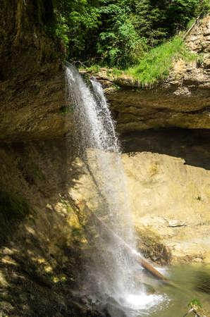 Scheidegg, Bavaria, Germany - June 11, 2017: One of the Scheidegg Waterfalls in the Allgaeu region near Lindau at Lake Constance, Bavaria, Germany, Europe. Scheidegg, Bayern, Deutschland - 11. Juni 2017: Einer der Scheidegger Wasserfälle im Allgäu bei L