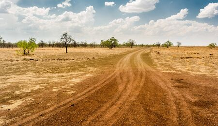 Tracks towards a cattle station on the Barkly Tablelands, Northern Territory. Huge cattle stations are the only form of civilisation out here, dotting this barren landscape.