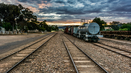 flinders: Pichi Richi Railway, Quorn - a heritage train sits on the tracks of the railway that travels through the foothills of the Flinders Ranges at sunset. Editorial