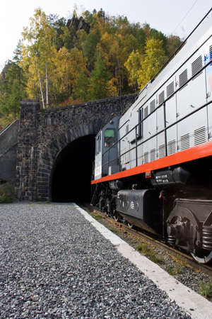 entrance to the tunnel (around Baikal railroad) Stock Photo