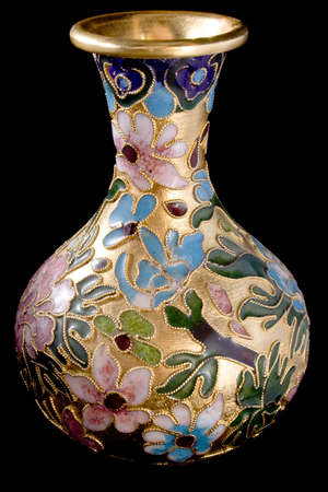 brass vase isolated on black