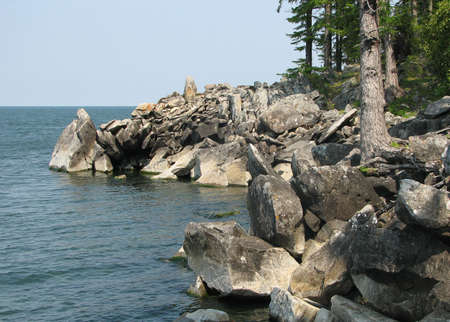 conglomeration: conglomeration of rock on the Baikal lakeside
