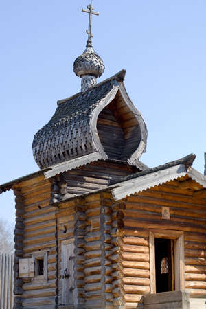 17th: wooden church of 17th century in the Ilim  Stock Photo