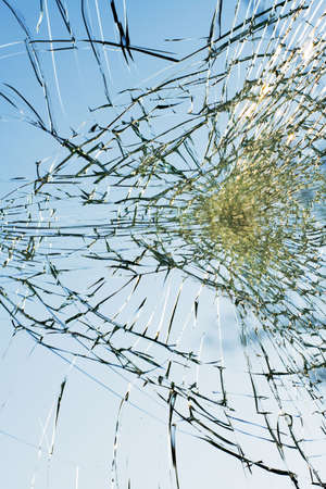 web of splits on the triplex windscreen Stock Photo - 926957