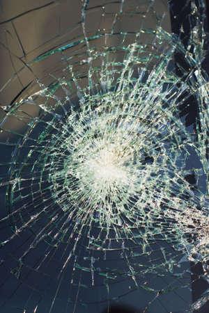 web of splits on the triplex windscreen Stock Photo - 943229