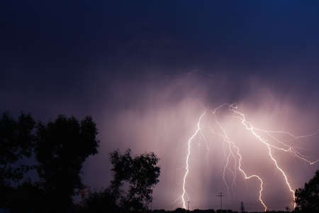 thunderbolt in the night sity photo