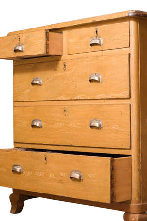 Retro wooden chest of drawers isolated on white Stock Photo