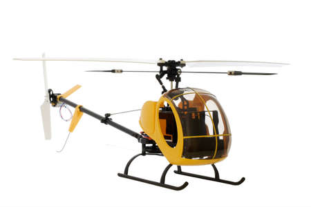 guided by radio model of helicopter. isolated on white. Works on accumulators. Stock Photo