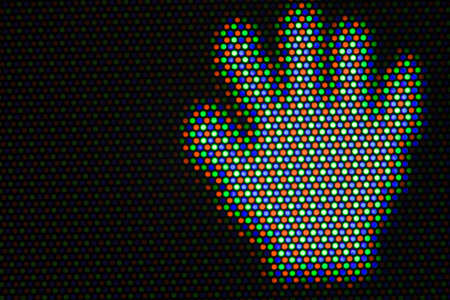 Hand cursor on black area. Pixels of cathode ray tube. Real macro photo. photo