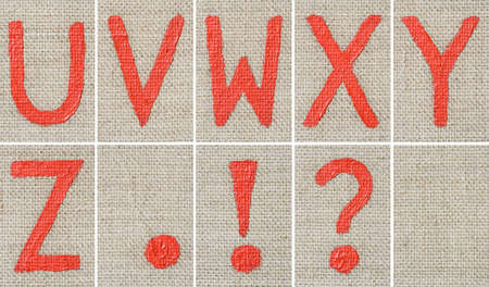 v lake: Oil paint alphabet letters.Each letter is a different shot.Build your own OIL PAINT sentence! Stock Photo