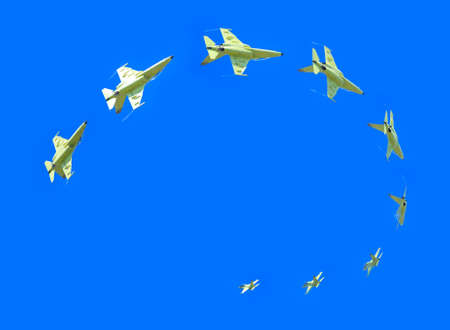 Jet doing a loop in flight.  Collage photo