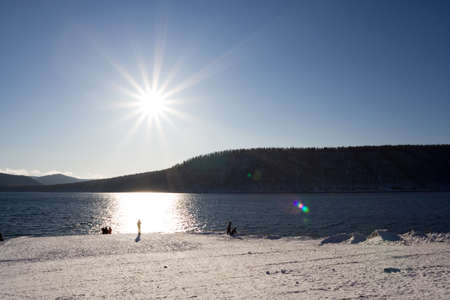 winter landscape of river and sunshine Stock Photo