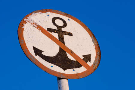 sign No Anchor on a clear sky background