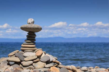 Pebble stones on the Baikal beach photo